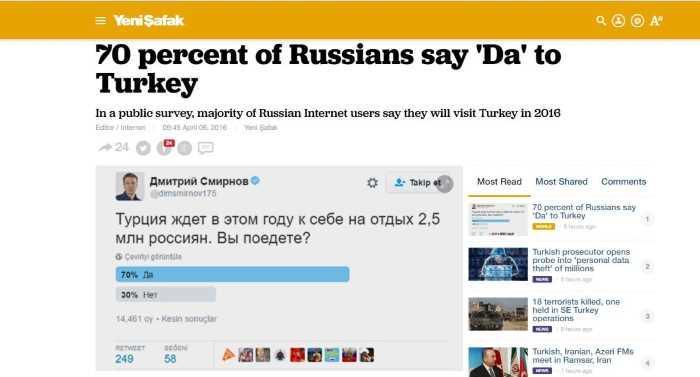 Статья в Yeni Safak вызывает интерес