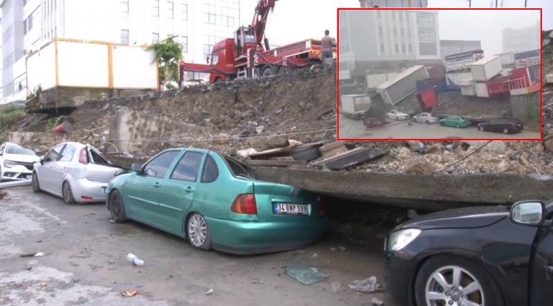 Стена погребла под собой 4 автомобиля