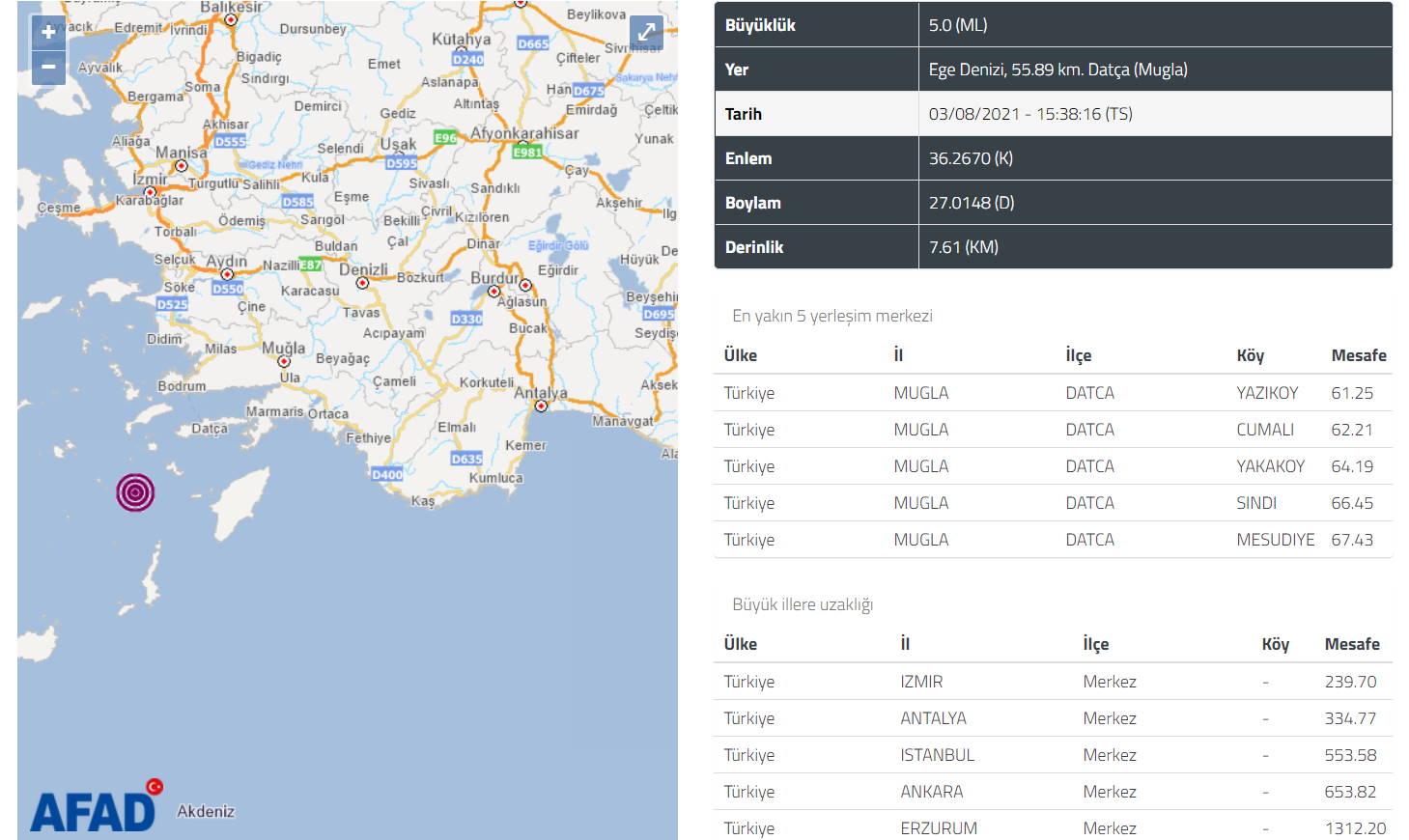 У берегов Муглы произошло 5-бальное землетрясение