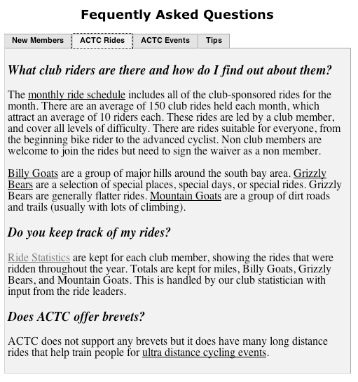 FAQ Rides Section
