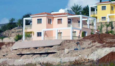 Paphos villa foundations washed away by winter rain