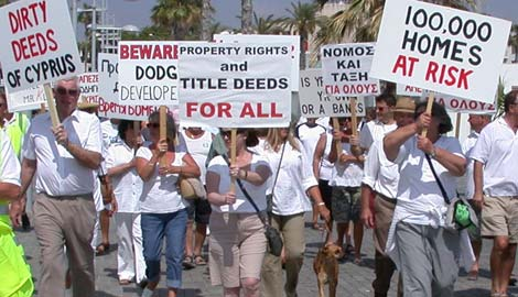 Leptos Buyers Action Group protesters demonstrating in Paphos