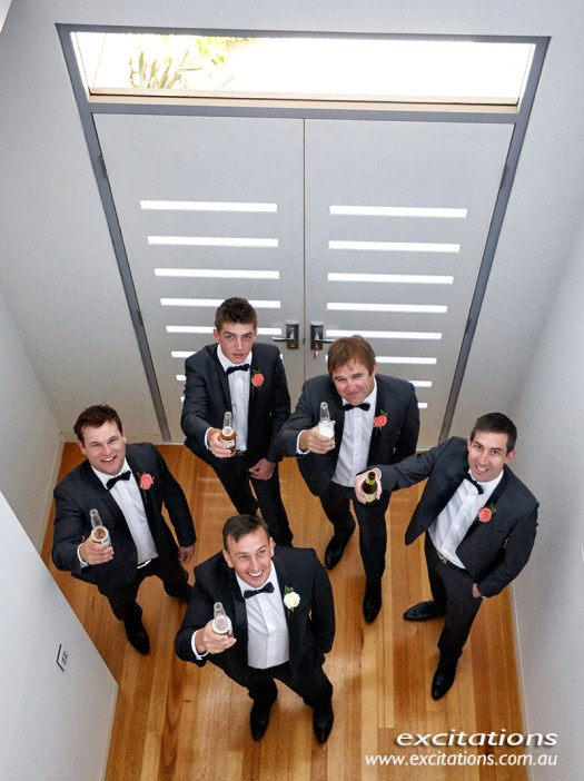 Wedding photos in Mildura by Excitations, Ben and groomsmen before the wedding, high angle.