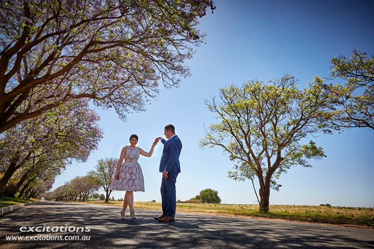 Engagement photo of couple under an avenue of jacaranda Trees. Location Photography by Excitations.