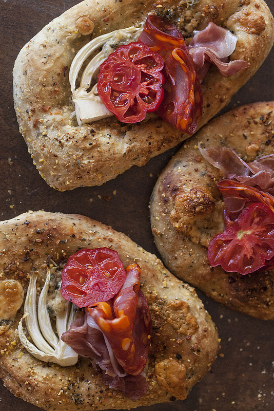 Food photo by Jackie Alpers of mini blue cheese and fennel pizzas