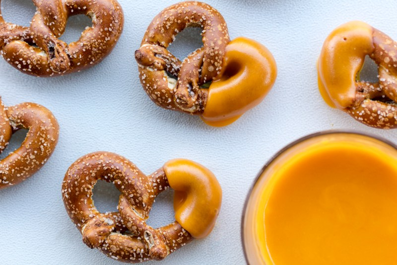 My two-ingredient beer and cheddar dip for quick and easy snacking. Serve it with pretzels.