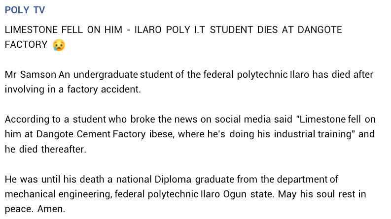 Poly student reportedly crushed to death by limestone slab at cement factory in Ogun state