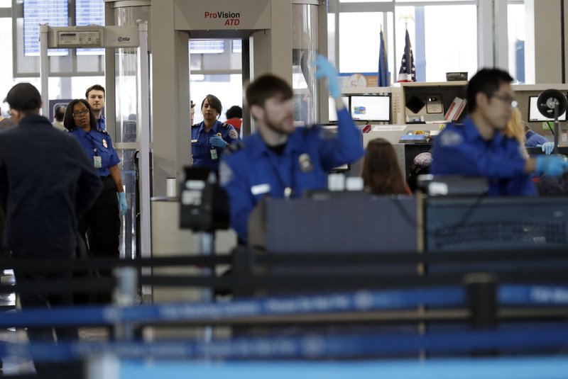 Jan. 5, 2019, file photo Transportation Security Administration officers work at a checkpoint at O'Hare airport in Chicago_1556277205743.jpeg.jpg