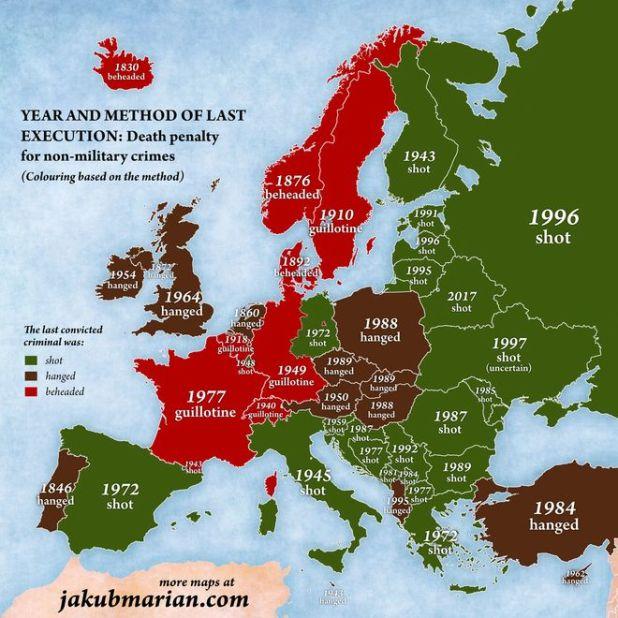 Χρωματική απεικόνιση των εκτελέσεων θανατικών ποινών στην Ευρώπη με βάση τον τρόπο εκτέλεσης