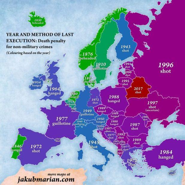 Χρωματική απεικόνιση των εκτελέσεων θανατικών ποινών στην Ευρώπη με βάση την χρονολογία της τελευταίας εκτέλεσης