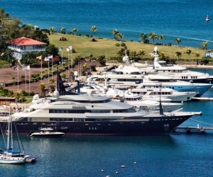 Superyachts in Port Louis Marina situated in a beautiful Caribbean yacht charter location