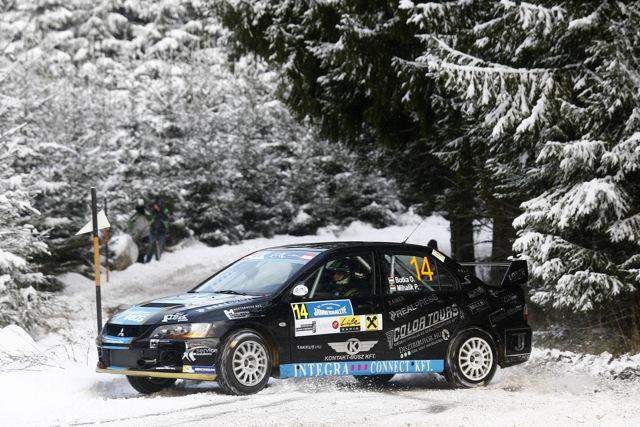 14 David Botka (HUN) - Peter Mihalik (HUN) - Mitsubishi Evo IX / Action during the 2015 European Rally Championship ERC Jänner rally,  from January 4 to 6th, at Freistadt, Austria. Photo Gregory Lenormand / DPPI