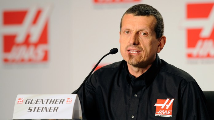 CONCORD, NC - APRIL 14:  Guenther Steiner (L), team principal of Haas Formula,vspeaks with the media during the Gene Haas Formula One Press Conference at the Concord Convention Center on April 14, 2014 in Concord, North Carolina.  (Photo by Jared C. Tilton/Getty Images)