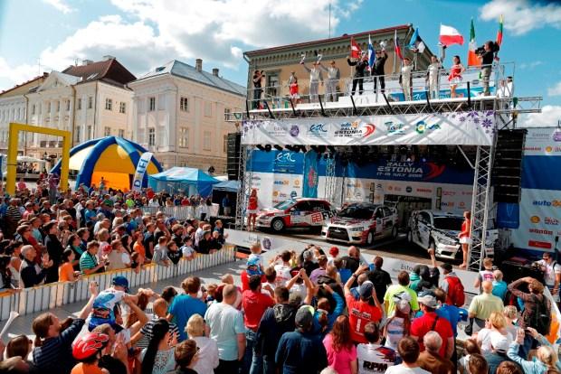 podium ambiance 15 LUKYANUK Alexey ARNAUTOV Alexey Mitsubishi Lancer EVO X action  during the 2015 European Rally Championship ERC Estonia Rally, from July 17th to 20th 2015 at Tallinn, Estonia. Photo Francois Flamand / DPPI