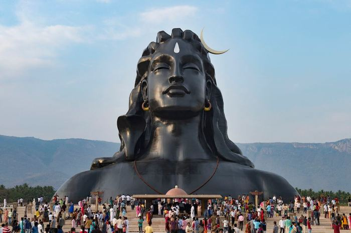 The face of Adiyogi, set up by the Isha Foundation led by spiritual guru Jaggi Vasudev, attracts thousands of people every day