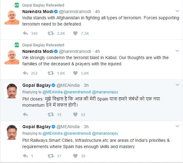 Tweet of Modi and Baglay about the spain visit