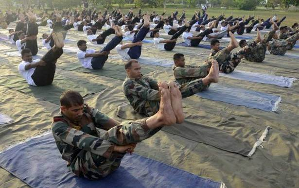 Army Personnel perform yoga at Palm Grove Environmental Centre, Dakshin Bharat Area.