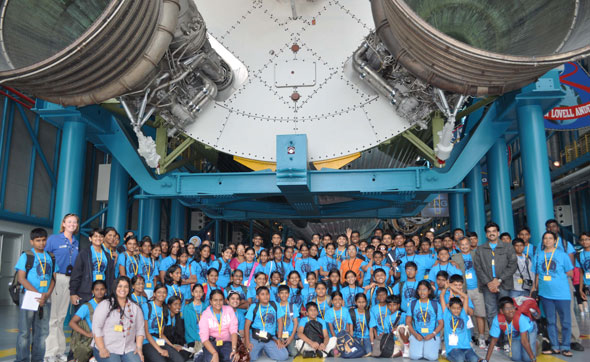 six-member team from Chennai-based Space Kidz India that helped him to design KALAM satellite