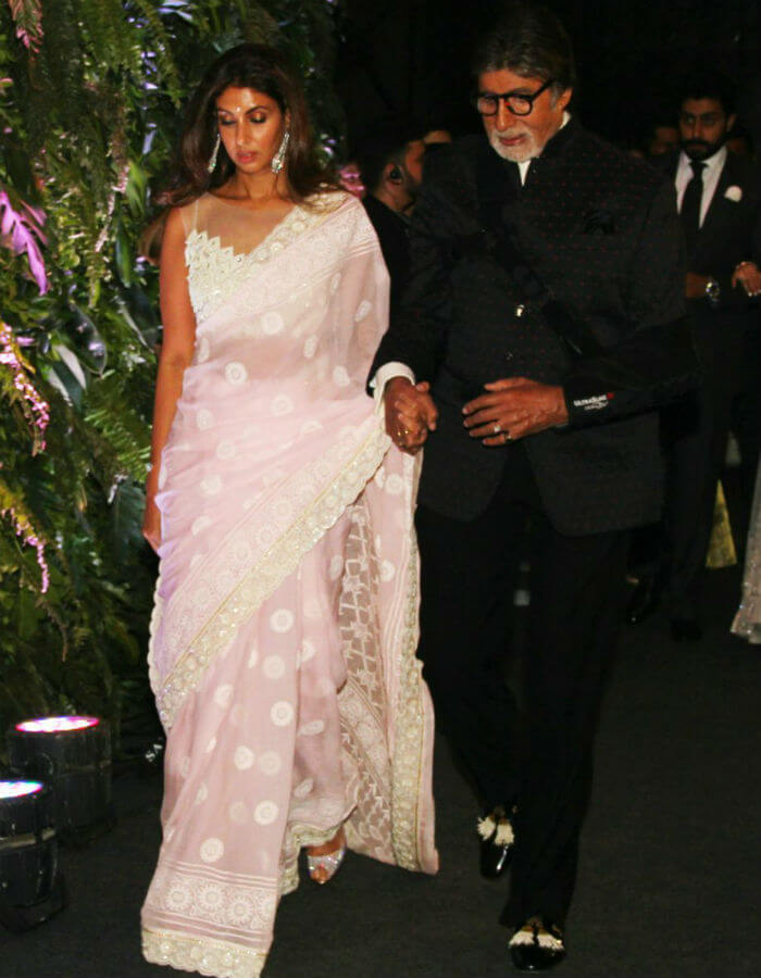 Shweta and Amitabh Bachchan at Virushka's Mumbai reception