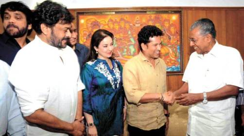 Pinarayi Vijayan With Sachin Tendulkar Family