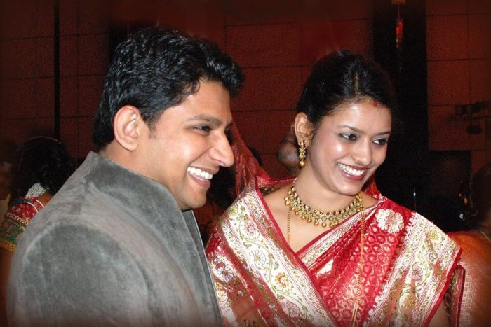 Sujay Vikhe Patil with his wife Dhanashree