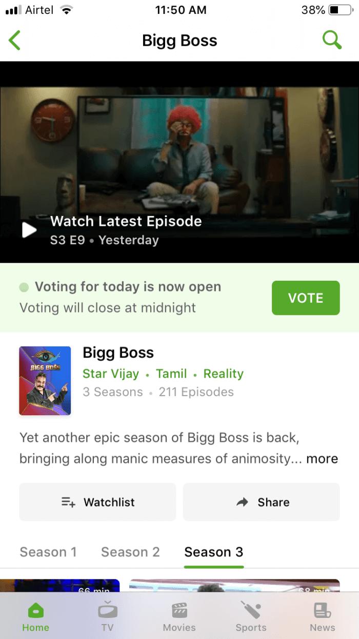 Hotstar Bigg Boss Tamil Vote