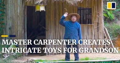 Chinese master carpenter Grandpa Amu creates intricate toys for his grandson