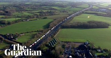 Aerial footage shows scale of lorry queues on M20 to Dover