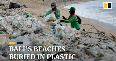 Bali's famous beaches buried in plastic garbage pushed ashore by annual monsoon