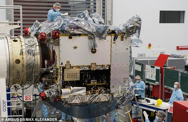 Airbus engineers working on the probe. British engineers are putting the finishing touches to the European Space Agency's Solar Orbiter satellite this week before sending it to Germany to begin a year-long test campaign