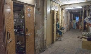 Dilapidated buildings in Bhendi Bazaar in South Mumbai.