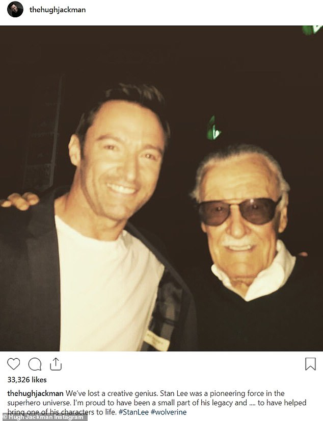 Old pals: Hugh Jackman, who played Wolverine in the X-Men films, paid tribute to Lee on Monday