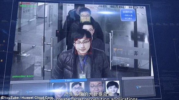 A different smart surveillance system (pictured)  can scan 2 billion faces within seconds has been revealed in China.The system connects to millions of CCTV cameras and uses artificial intelligence to pick out targets. The military is working on applying a similar version of this with AI to track people across the country