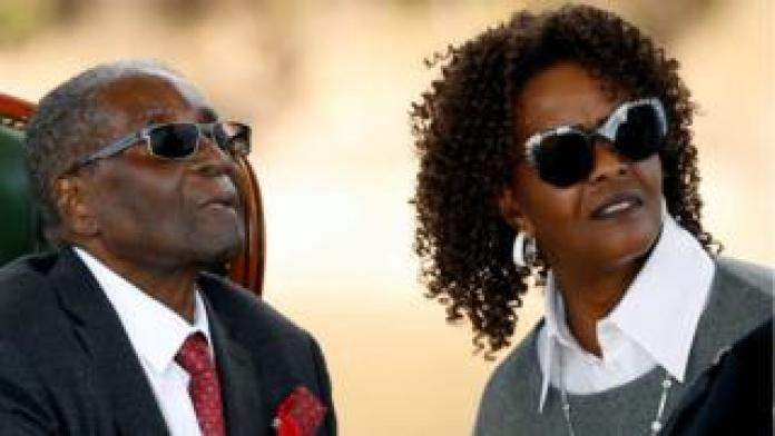 Zimbabwe's former president Robert Mugabe and his wife Grace in Harare, Zimbabwe, July 29, 2018