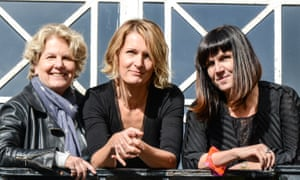 Walker (centre) in 2015 with WEP founders Sandi Toksvig (left) and Catherine Mayer.