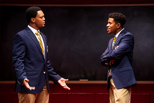 (Left to right) J. Quinton Johnson and Jeremy Pope in Choir Boy, written by Academy Award Winner Tarell Alvin McCraney