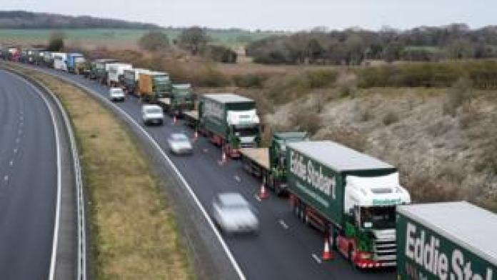 A traffic control system in place on the A256 as part of an Operation Brock trial in January