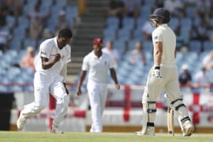 Keemo Paul celebrates dismissing Rory Burns with the first ball of the day.
