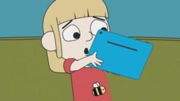 A still from the new cartoon showing Jessie using a tablet computer