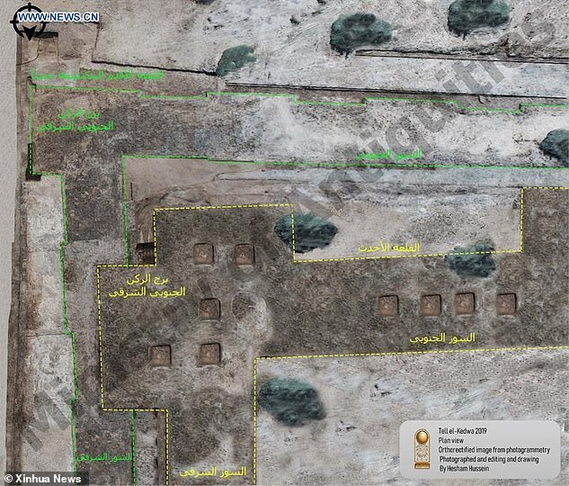 The remnants of two castles were found and it's thought the main castle with 16 towers was built on the structure of an unfinished construction that came before. The above pictures released by Egypt's Ministry of Antiquities shows an aerial views of the excavation