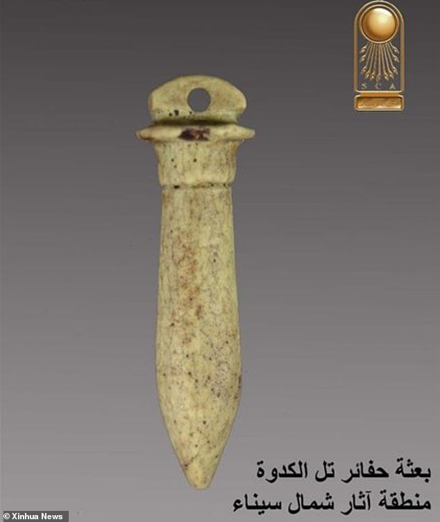 The castle stood a hundred years before the Persian invasion of Egypt in 525BC and could have acted as a main gate guarding the country's eastern boarder. Stone daggers (pictured) and figurines were also revealed in the dig at North Sinai