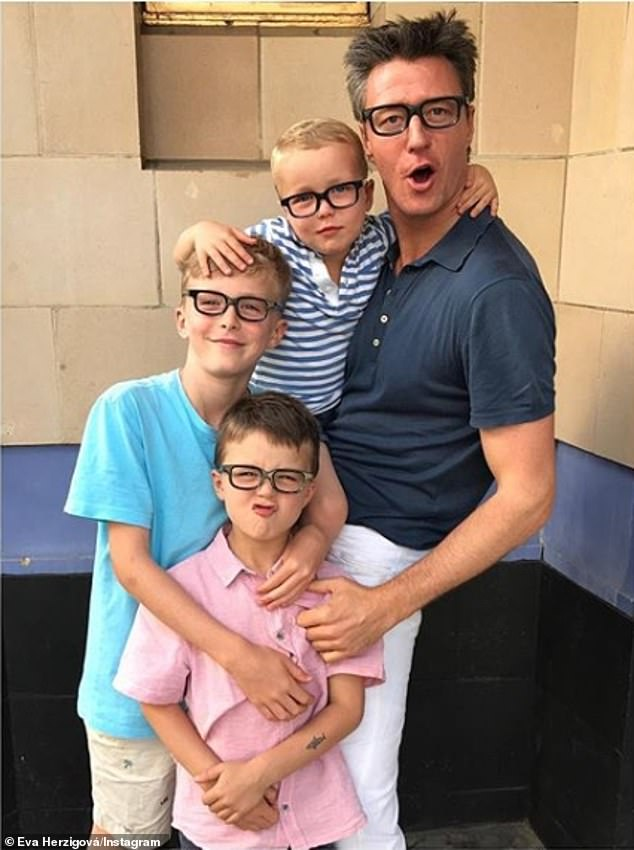 Family matters: The supermodel is a doting mother to sons George, 10, Edward, four, and Philip, seven whom she shares with her fiancéeGregorio Marsiaj