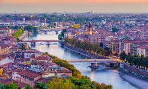 View at dusk from atop Piazzale Castel San Pietro of Verona and the Adige river (second longest in Italy)