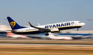 A Ryanair Boeing 737 plane takes off from Palma de Mallorca airport.