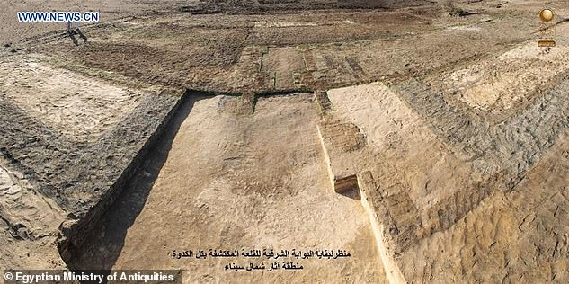 An Egyptian archaeological mission has discovered remnants of a military castle (pictured) that dates back to Psamtik era from 664-610 BC in North Sinai province