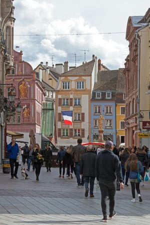 The busy shopping zone in the heart of Mulhouse