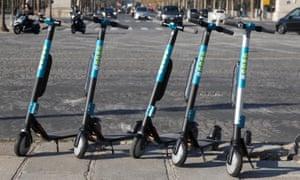 Electric scooters in Place de la Concorde, Paris.
