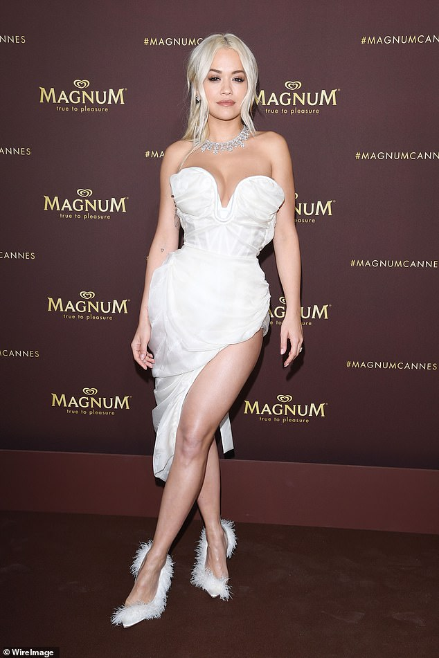 Star power:Rita ORa pulled out all the stops for her first appearance at the Cannes Film Festival, posing at the Magnum photocall in a jaw-dropping white dress on Thursday