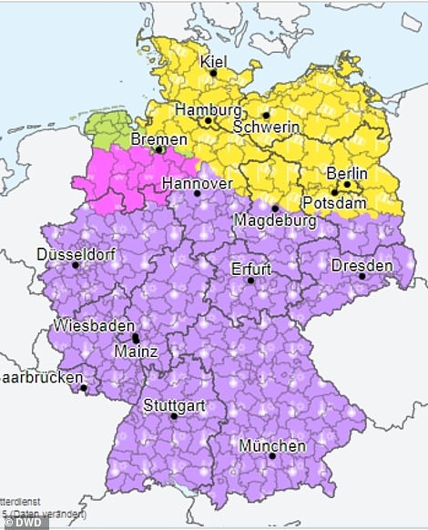 The majority of Germany was also issued with a heat warning (in purple) advising people to take care in the sun