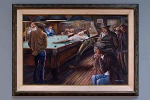 Ernie Barnes' painting Pool Hall.